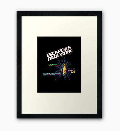 ESCAPE FROM NEW YORK - ISLAND MAP (1) Framed Print