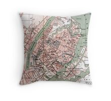 Vintage Map of Copenhagen Denmark (1888) Throw Pillow