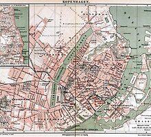 Vintage Map of Copenhagen Denmark (1888) by BravuraMedia
