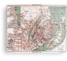 Vintage Map of Copenhagen Denmark (1888) Metal Print