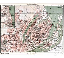 Vintage Map of Copenhagen Denmark (1888) Photographic Print