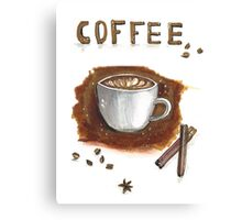 Cup of coffee with cinnamon sticks Canvas Print