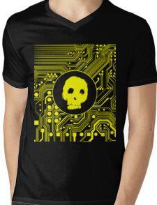 Yellow Blurry Skull (Cybergoth) Mens V-Neck T-Shirt