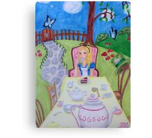 Alice in Wonderland at the madhatters teaparty  Canvas Print
