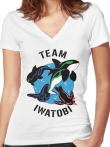 Team Iwatobi Variant Women's Fitted V-Neck T-Shirt