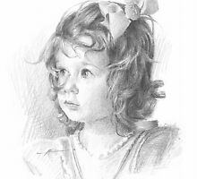 granddaughter with bow in her hair drawing by Mike Theuer