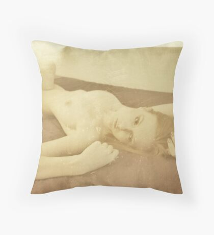 Beautiful vintage young attractive caucasian woman Throw Pillow