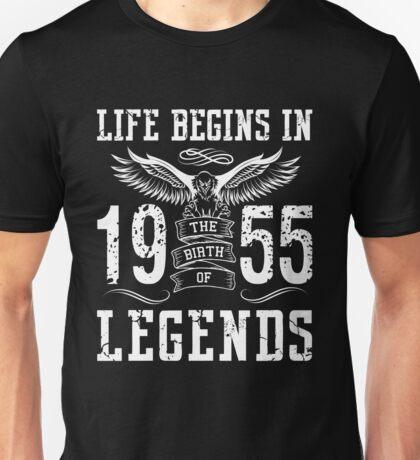 Life Begins In 1955 Birth Legends Unisex T-Shirt