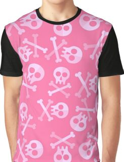 Cute Pink Skulls And Crossbones Graphic T-Shirt