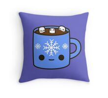 Mug of hot chocolate with cute marshmallows Throw Pillow