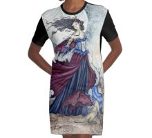The Moon Is Calling Graphic T-Shirt Dress