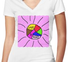 Love & Peace Women's Fitted V-Neck T-Shirt