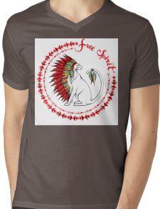 Cat In Indian War Bonnet Mens V-Neck T-Shirt