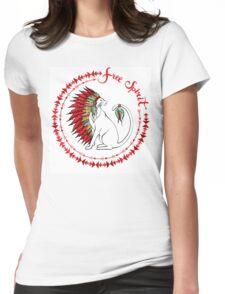 Cat In Indian War Bonnet Womens Fitted T-Shirt