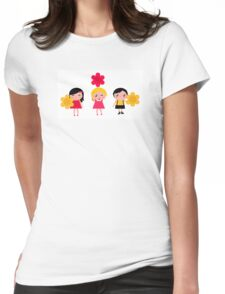 3 cute characters : Red, yellow and white Womens Fitted T-Shirt