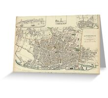 Vintage Map of Liverpool England (1836) Greeting Card