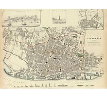 Vintage Map of Liverpool England (1836) Photographic Print