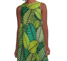 Deep Green Striped Leaves A-Line Dress
