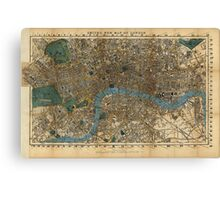 Vintage Map of London England (1860) Canvas Print
