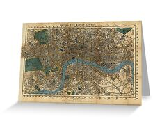 Vintage Map of London England (1860) Greeting Card