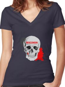 WISCONSIN STICKER AND LEGGING Women's Fitted V-Neck T-Shirt