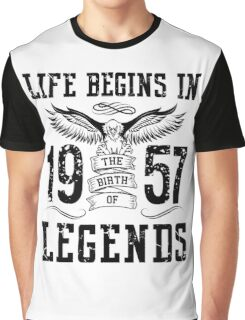Life Begins In 1957 Birth Legends Graphic T-Shirt