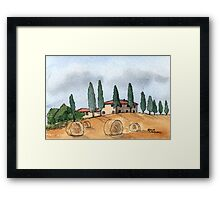Villa in Tuscany - Watercolor Pen and Wash Framed Print
