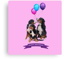 Bernese Mountain Dogs Happy Birthday  Canvas Print