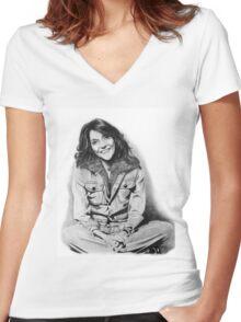 Karen Carpenter Graphite Drawing Women's Fitted V-Neck T-Shirt