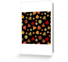Colorful Autumn Leaves At Black Greeting Card