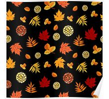 Colorful Autumn Leaves At Black Poster