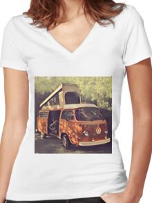 Orange Vintage VW Westfalia Camping Women's Fitted V-Neck T-Shirt