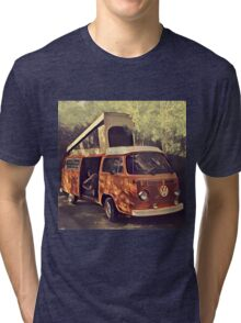 Orange Vintage VW Westfalia Camping Tri-blend T-Shirt