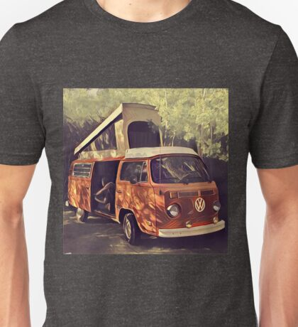 Orange Vintage VW Westfalia Camping Unisex T-Shirt