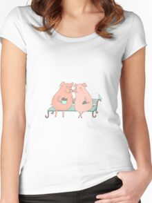 Couple of cute pigs sitting on a bench Women's Fitted Scoop T-Shirt
