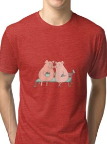 Couple of cute pigs sitting on a bench Tri-blend T-Shirt