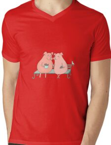 Couple of cute pigs sitting on a bench Mens V-Neck T-Shirt