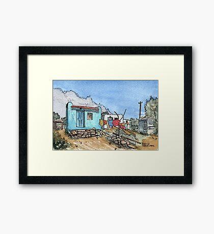 Watercolor Village Scene in India Framed Print