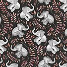 Laughing Baby Elephants – Coral by micklyn