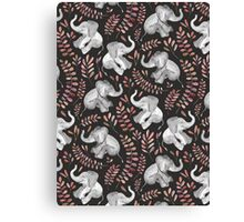 Laughing Baby Elephants – Coral Canvas Print