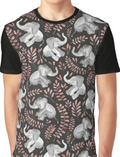 Laughing Baby Elephants – Coral Graphic T-Shirt