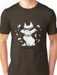 Funny cartoon cat with glasses under the rain of money. Like a boss. Unisex T-Shirt