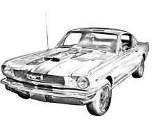 1966 Ford Mustang Fastback Illustration by KWJphotoart
