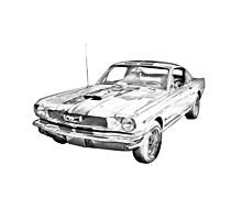 1966 Ford Mustang Fastback Illustration Photographic Print