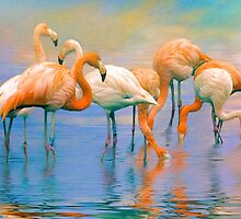 Caribbean Flamingos by Tarrby