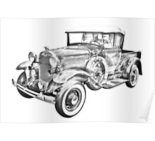 1930 Ford Model A Pickup Truck Illustration Poster