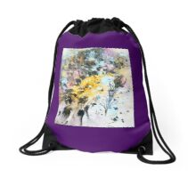 One Maple Leaf & One Peacock Feather - Rain Painting Drawstring Bag