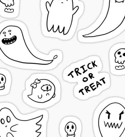 Trick or treat sticker sheet (black and white) Sticker