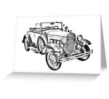 1931 Ford Model A Cabriolet Illustration Greeting Card