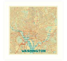 Washington Map Retro Art Print